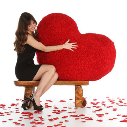 44in Huge Red Heart Body Pillow for Valentine's Day from Giant Teddy