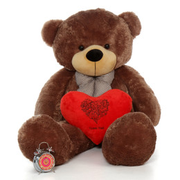60in Happy Valentine's Day I Love You Teddy Bear Mocha Sunny Cuddles with plush red heart pillow