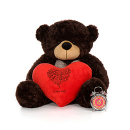 38in Happy Valentine's Day I Love You Teddy Bear Chocolate Brownie Cuddles with plush red heart pillow