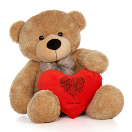 48in Happy Valentine's Day I Love You Teddy Bear Amber Shaggy Cuddles with plush red heart pillow