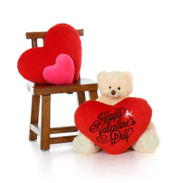 2ft Happy Valentine's Day Teddy Bear Vanilla Cream Tiny Tubs with plush red heart pillow
