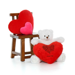 2ft Scruffs Tubs White Oversized Teddy Bear with Happy Valentine's Day I Love You Red Plush Heart