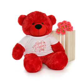 4ft Life Size Teddy Bear wearing Happy Valentine's Day shirt – choose your favorite fur color!
