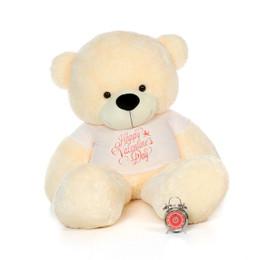 6ft Cozy Cuddles Vanilla Cream Huge Teddy Bear in Happy Valentine's Day T-Shirt