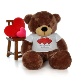 5ft Life Size Teddy Bear wearing customized Happy Valentine's Day shirt and choose your favorite fur color!