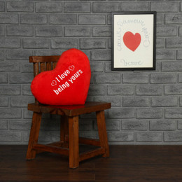 Red Heart Shaped Pillow I Love Being Yours