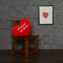 Personalized Greeting Heart Pillows: Never Let Me Go and I Love You