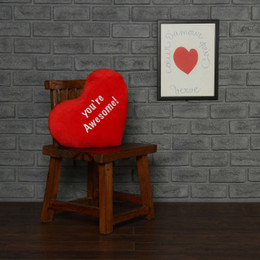 Personalized Greeting Heart Pillows: You're Awesome & Red Heart