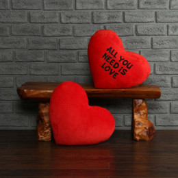 """Personalized Red Pillow Heart with """"All You Need is Love"""" Message"""