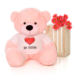 4ft Life Size Valentine's Day Teddy Bear wearing 'Be Mine' shirt – choose your favorite fur color!