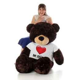 5ft Life Size Valentine's Day Teddy Bear wearing 'Be Mine' Red Heart Shirt - choose your favorite fur color!