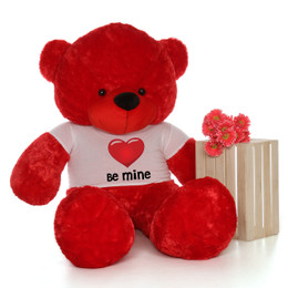 6ft Life Size Valentine's Day Teddy Bears in 'Be Mine' red heart shirts – Customize your fur color!