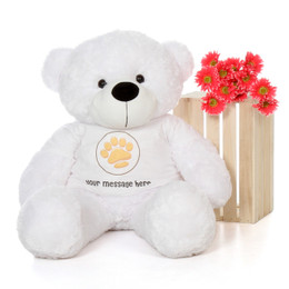 4ft Life Size Teddy Bear with Personalized Paw Print Shirt – choose your favorite fur color!