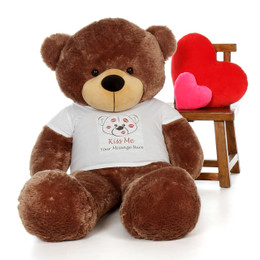 5ft Life Size Personalized Valentine's Day Teddy Bear in 'Kiss Me' shirt - choose your favorite fur color!