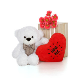 30in Big Valentine's Day Teddy Bear White Coco Cuddles with beautiful 'Hug Me' red heart pillow