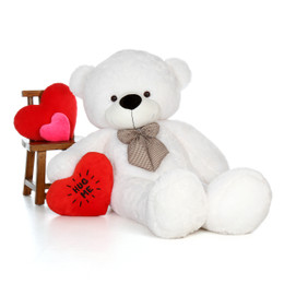72in Giant Life Size White Valentine's Day Teddy Bear Coco Cuddles with 'Hug Me' red heart pillow