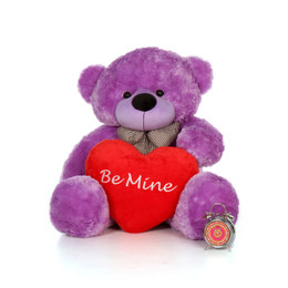 48in Big Life Size Valentine's Day Teddy Bear Lavender Purple DeeDee Cuddles with beautiful 'Be Mine' red heart pillow