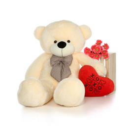 60in Huge Life Size Vanilla Valentine's Day Teddy Bear Cozy Cuddles with beautiful XOXO red heart pillow