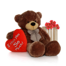 60in Huge Life Size Valentine's Day Teddy Bear Mocha Sunny Cuddles with beautiful 'I Miss You So Much' red heart pillow