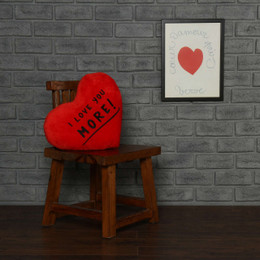 """Personalized Greeting Heart Pillows: """"I Love You More!"""" & Pink Heart"""
