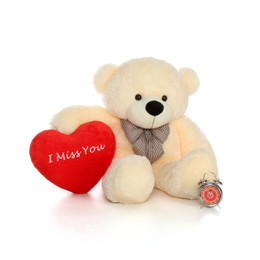48in Big Life Size Valentine's Day Teddy Bear Vanilla Cream Cozy Cuddles with beautiful 'I Miss You' red heart pillow