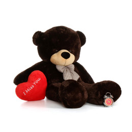 72in Giant Life Size Valentine's Day Teddy Bear Chocolate Brownie Cuddles with beautiful 'I Miss You' red heart pillow