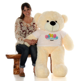 4ft Personalized Happy Birthday Life Size Teddy Bear – choose your favorite fur color!