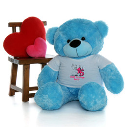 4ft Life Size Make a Wish Personalized Happy Birthday Teddy Bear – choose your favorite fur color!