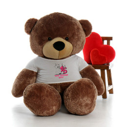 72in Mocha Sunny Cuddles Make a Wish Personalized Birthday Teddy Bear