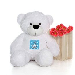 4ft Life Size Birthday Teddy Bear in Blue Candle Cake Age Shirt – choose your favorite fur color & candle age