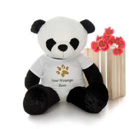 4ft Giant Panda Bear with Personalized Paw Print Shirt