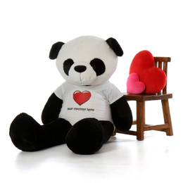5ft Giant Life Size Panda Bear with Personalized Red Heart Shirt