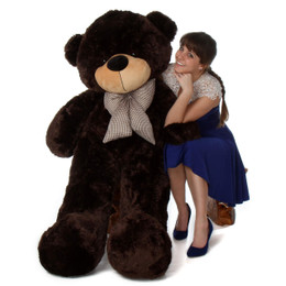 5ft life size jumbo teddy bear Brownie Cuddles softest dark chocolate brown fur