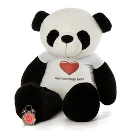 6ft Life Size Panda Bear with Personalized Red Heart Shirt