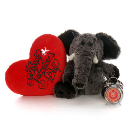 """2ft Huge Ellie Elephant with Big Red """"Happy Valentine's Day"""" Heart Pillow"""
