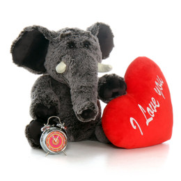 "2.5ft Huge Lucy Elephant with XL Red ""I Love You"" Heart Pillow"