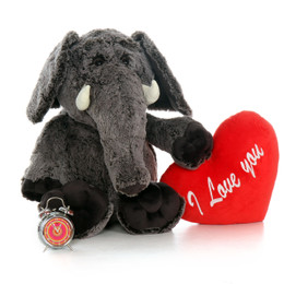 "3ft Enormous Elvis Elephant with Giant Red ""I Love You"" Heart Pillow"