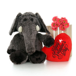 """3ft Enormous Elvis Elephant with Giant Red """"Happy Valentine's Day"""" Heart Pillow"""