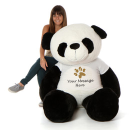 Giant Panda Bear with Personalized Paw Print T-Shirt (Select Your Size)