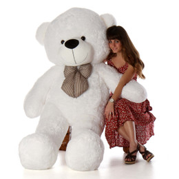 Coco Cuddles Soft and Huggable Jumbo White Teddy Bear 72in - Giant Teddy Bear