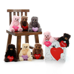 8 Adorable Teddy Bears 11in size assorted colors with I love you heart pillows