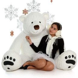 White Life Size Large Polar Bear 6 Foot