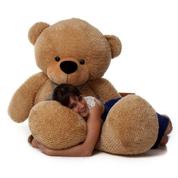 Life Size Amber Brown Teddy Bear Shaggy Cuddles 72in
