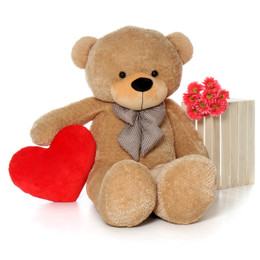 Valentine's Day package Shaggy Cuddles soft and huggable giant amber teddy bear 60in with a custom heart!!