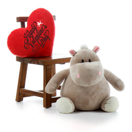 "29in Kili Kubu Hippo with red ""Happy Valentine's Day"" plush heart pillow"