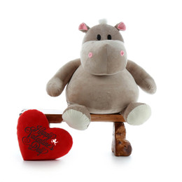 "43in Buni Kubu Huge Hippo with red ""Happy Valentine's Day"" plush heart pillow"