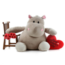 "54in Bari Kubu Life Size Hippo with red ""Happy Valentine's Day"" plush heart pillow"