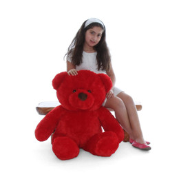 Riley Chubs Extra Plump and Adorable Bright Red Teddy Bear 38in
