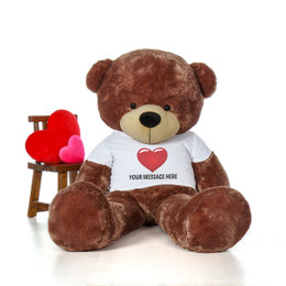7 Foot Life Size Personalized Giant Teddy Bear Cuddles with Red Heart T-shirt- The BIGGEST Teddy Bear!