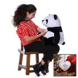Super Soft Christmas Panda Stuffed Animal with Personalized Ornament